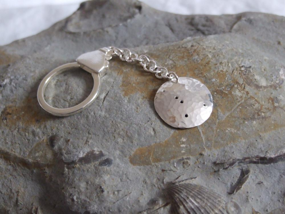 Silver Cancer keyring: The constellation of Cancer on a textured sterling silver keychain