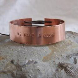 "Copper Avengers bracelet: A classic bracelet with the words ""WE HAVE A HULK"" taken from the trailer for the Avengers Assemble"