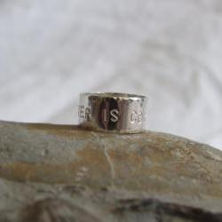 G.O.T. Silver Ring: Winter is Coming is hand stamped on a sterling silver ring which has also been hammered for texture.
